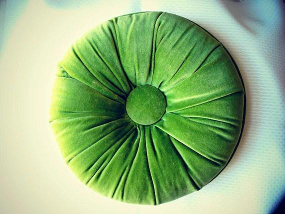 10 Avacado Green Velvet Round Tufted Throw Pillow