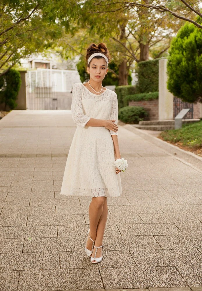 Items similar to Cotton Lace Casual Wedding Dress  Made to Order  Long Sleeves Knee Length
