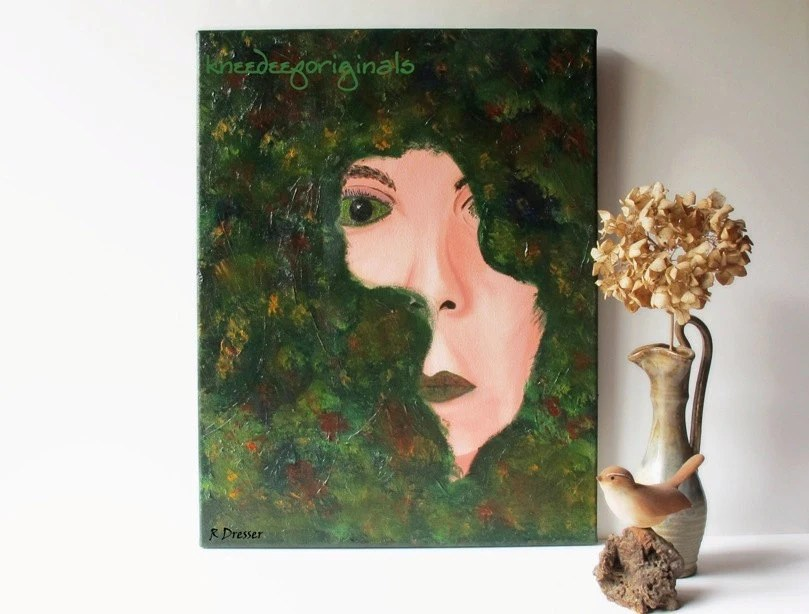 Fine Art on Sale!  Earth Goddess painting female portrait 14x18 canvas emerald green modern earthy rustic woodland wall decor animal charity - KneeDeepOriginals