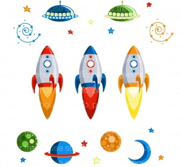 clip art set rocket ships outer