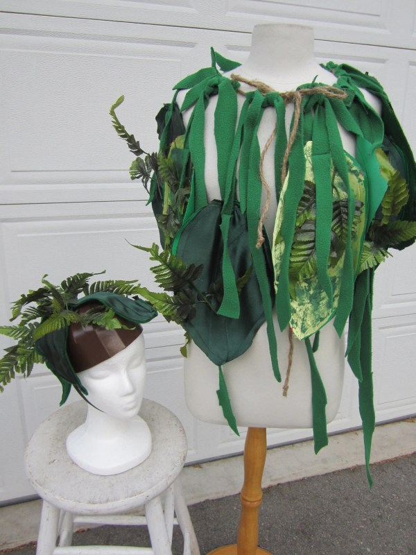 Upcycled Clothing Jungle Costume Cape And Headpiece