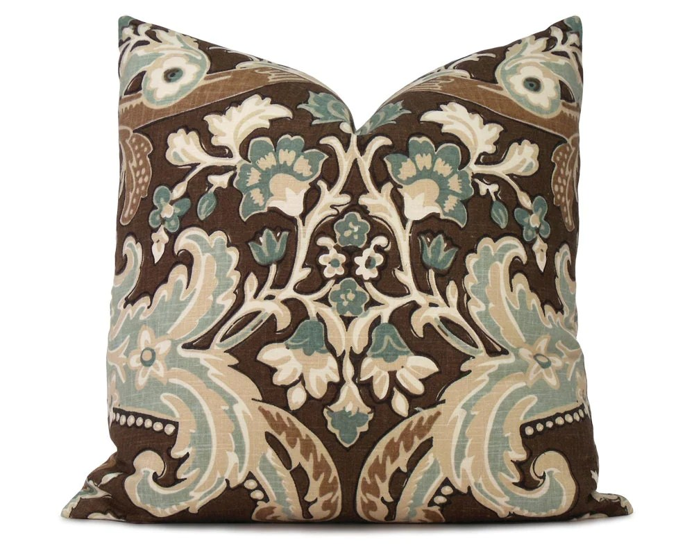 Brown and Blue Floral Pillow Cover Decorative Pillow Throw