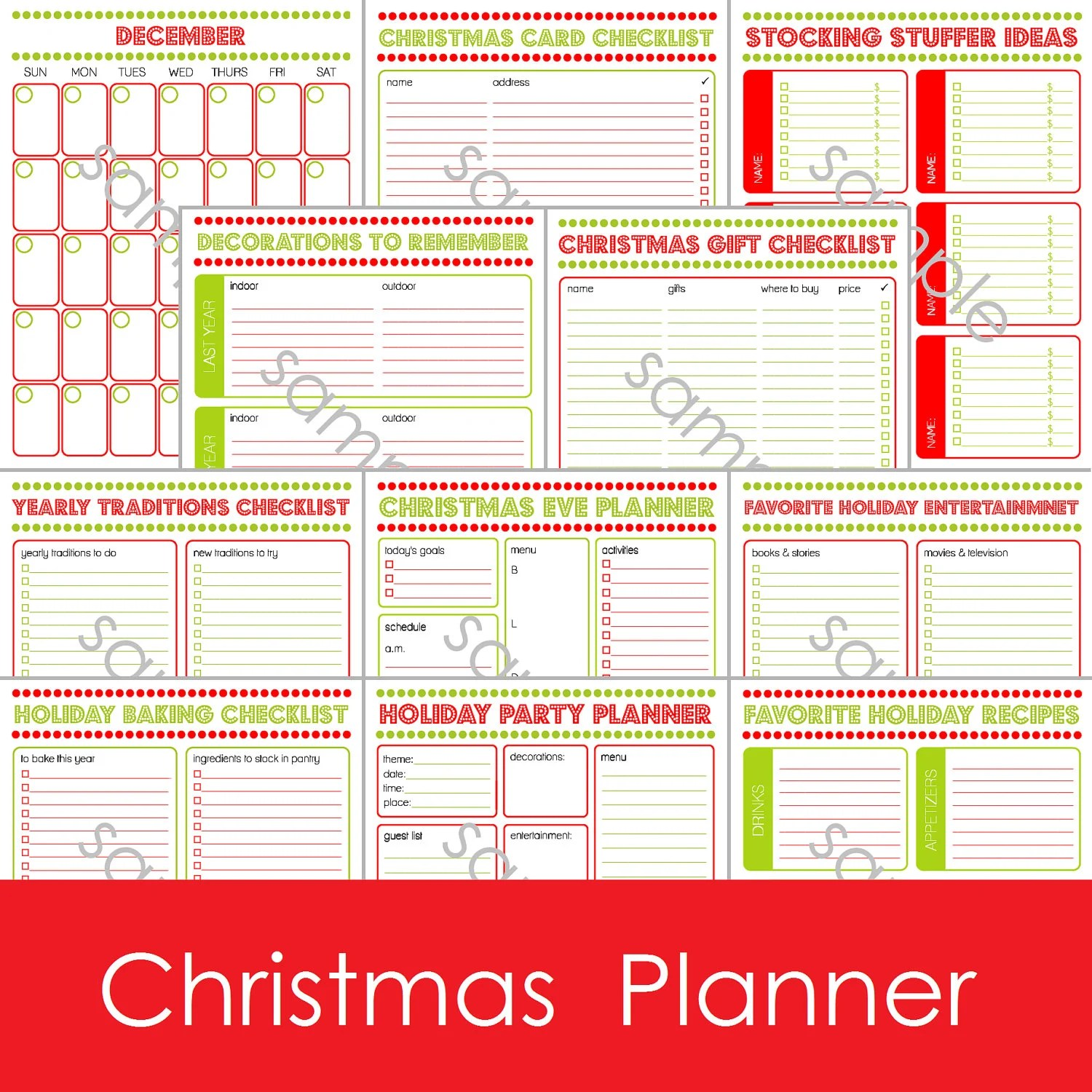 12 Page Printable Christmas Holiday Daily By