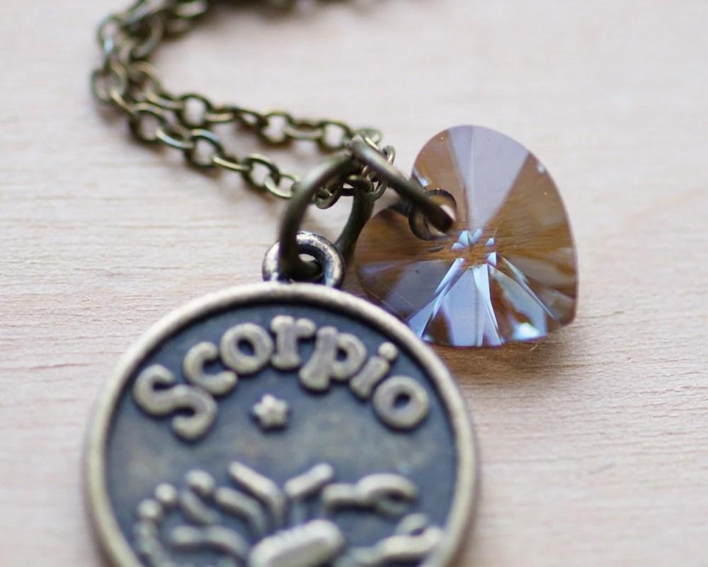 Scorpio Zodiac Necklace – Crystal Bronze Swarovski Crystal Heart Astrology Birthday by LittleFever
