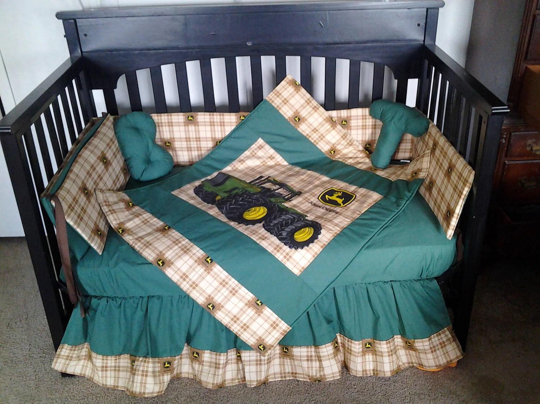 SALE New 7 piece JOHN DEERE baby crib bedding set in brown