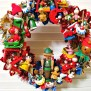 Toyland Vintage Christmas Wreath With Lots Of Vintage Wooden