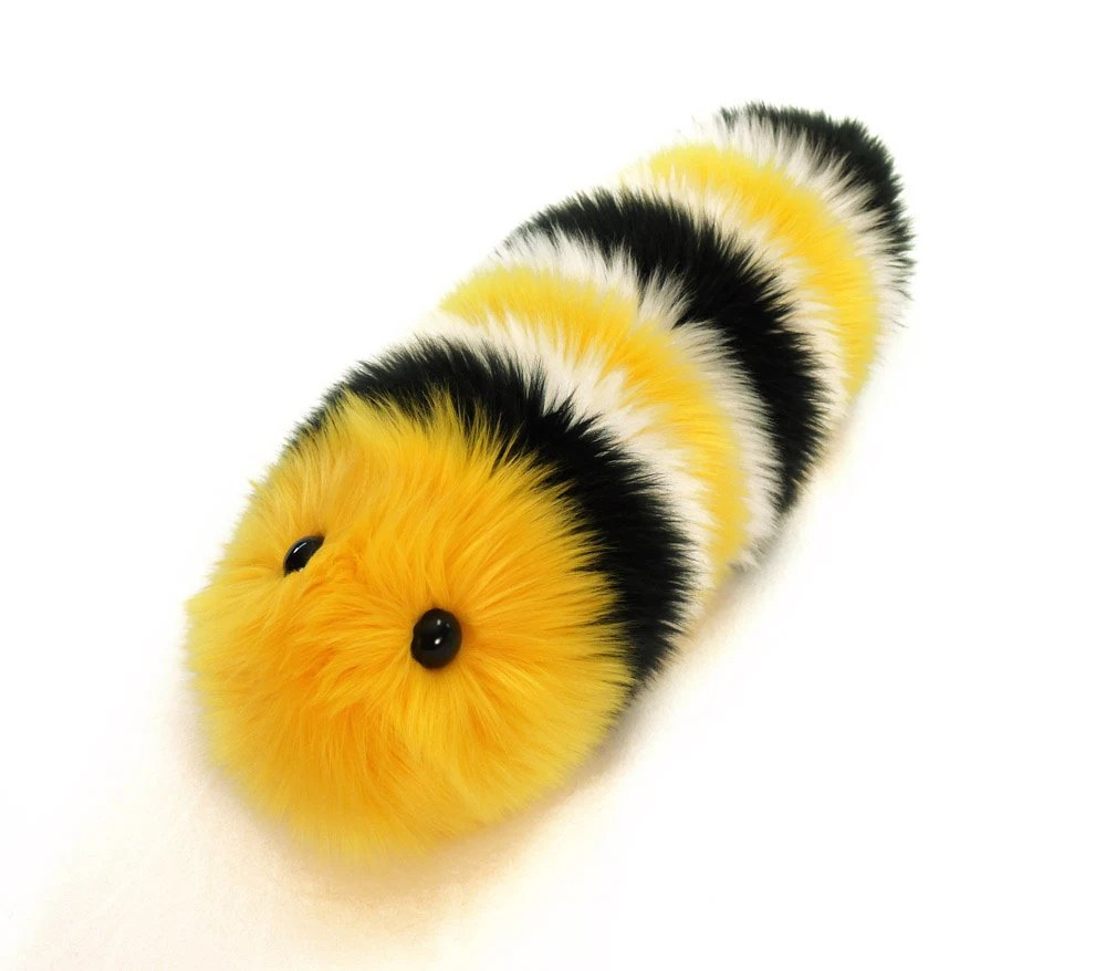 Monte Monarch Caterpillar Stuffed Toy Fuzzy Yellow and Black Snuggle Worm - Fuzziggles