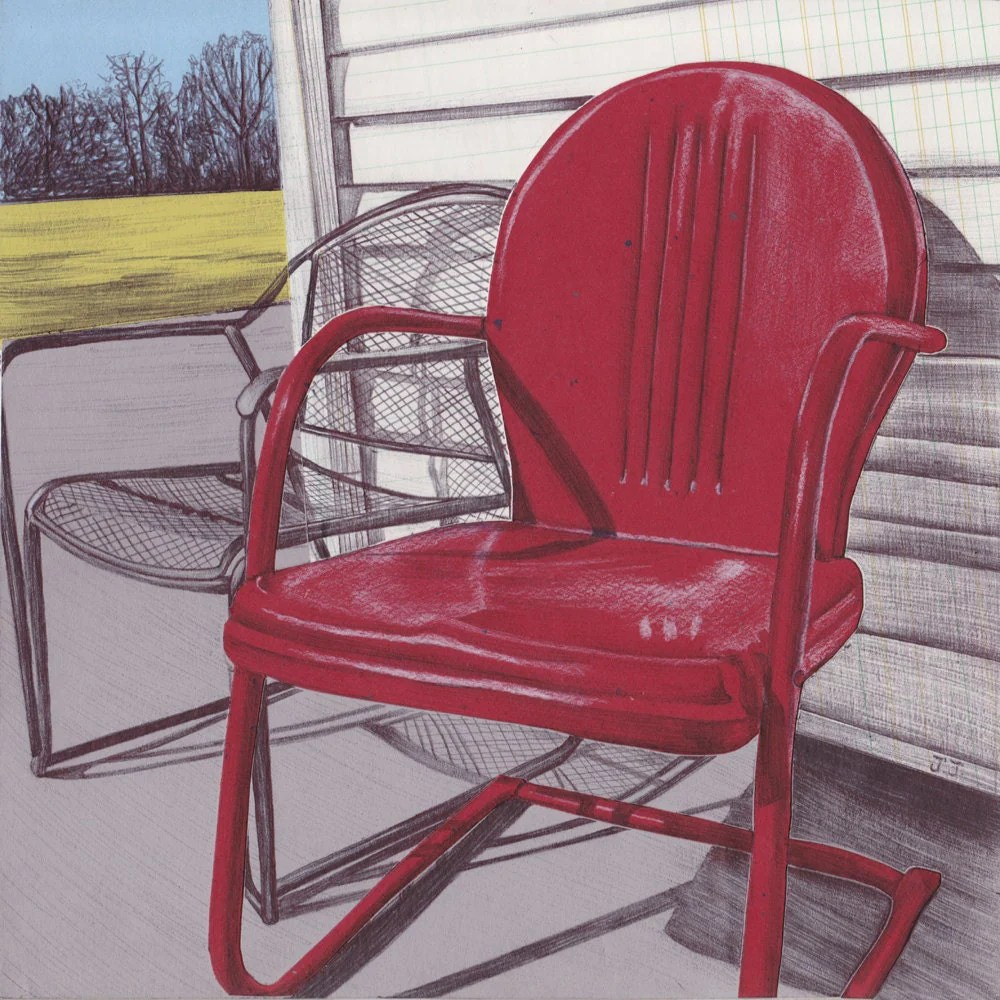creative learned to perforate solid metal surfaces and construct slatted seats and backs on wood furniture to drain water and avoid rust and mildew by the