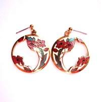 Vintage Cloisonne Pierced Earrings Enamel by VintagePennyLane