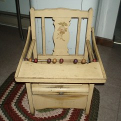 Toddler Chair With Tray Computer Office Primitive Antique Yellow Wood Childs Potty High