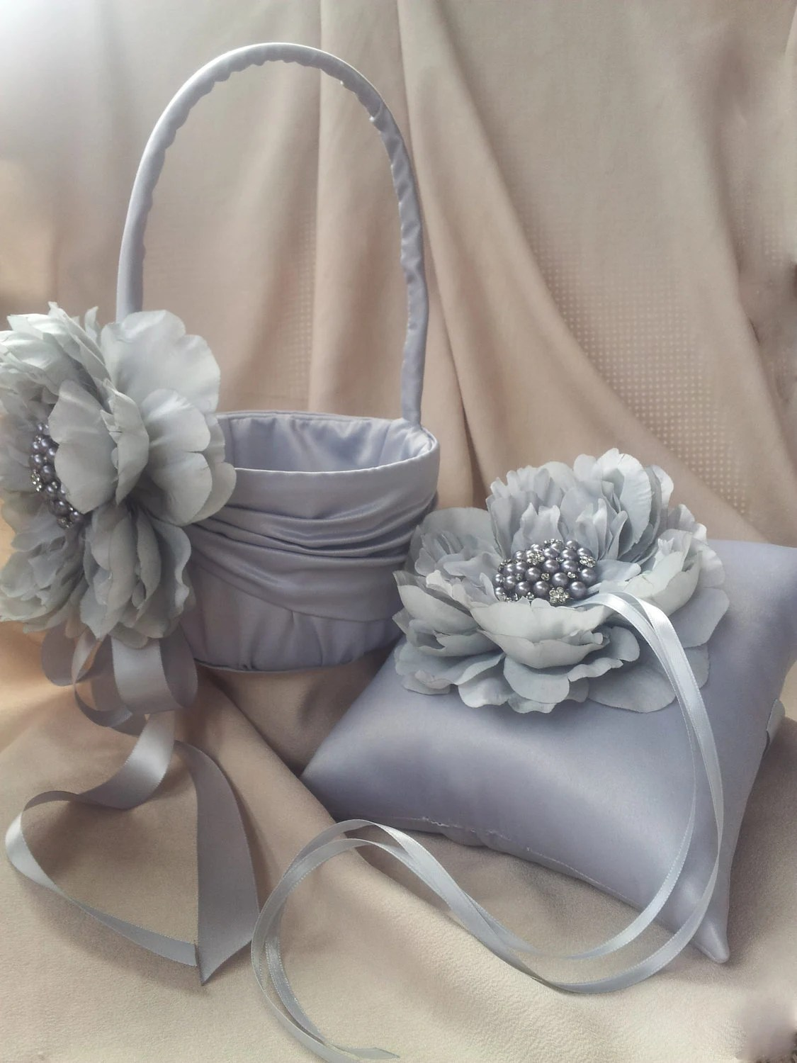 Silver Ring Pillow Flower Girl Basket with Rhinestone Pearl