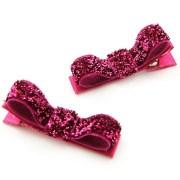 shocking pink glitter hair clips