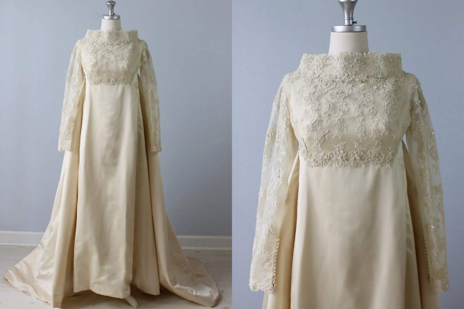 SALE Vintage 1960s Wedding Dress / Watteau Train / Lace