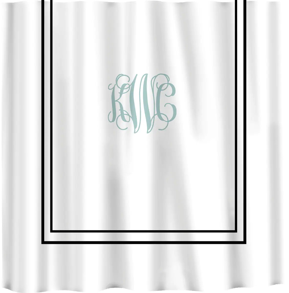 Custom Shower Curtain Simplicity in White or Bottom Band
