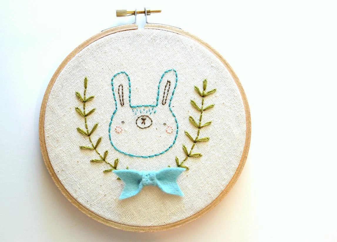 Shy little bunny - Hand Embroidered Wall Art - Back by Popular Demand - Made to Order - sleepyking