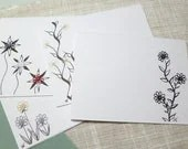 SALE Blank Stationery with tiny Tatted Flowers and beads -Teeny Tats -013