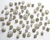 20 Rhinestone Buttons Assorted Round Circle Oval Square Pearl Diamante Crystal Hair Flower Comb Clip Wedding Invitation BT097 - yourperfectgifts