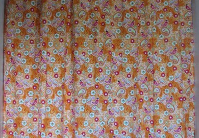 Orange Ruffled Shower Curtain