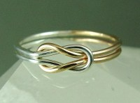 Solid Gold and Sterling Silver Infinity Ring / Solid Rose Gold