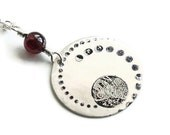 Garnet and Dot Stamped Silver Disc Necklace - quidditydesigns