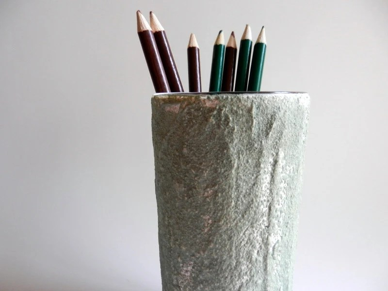Rustic pencil holder / pen cup / office decor / green and white /  painted pencil cup - CarriageOakCottage