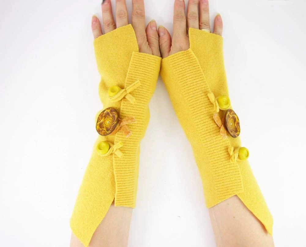 Fingerless mittens arm warmers fingerless gloves arm cuffs in eggnog banana yellow eco friendly recycled wool - piabarile