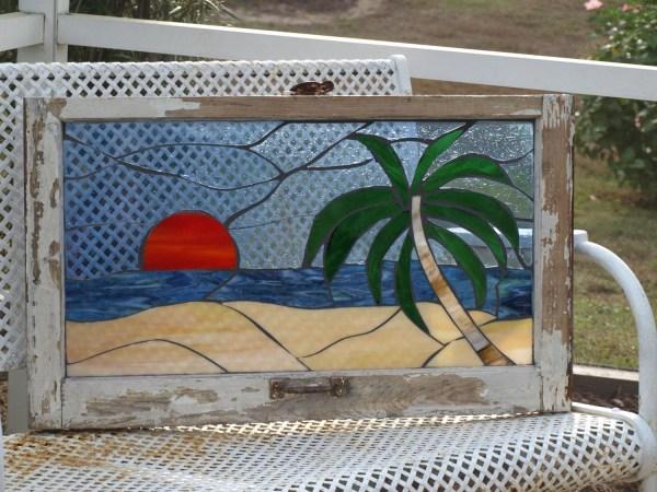 Stained Glass Mosaic Wooden Window Beach Sunset Palm Repurpose