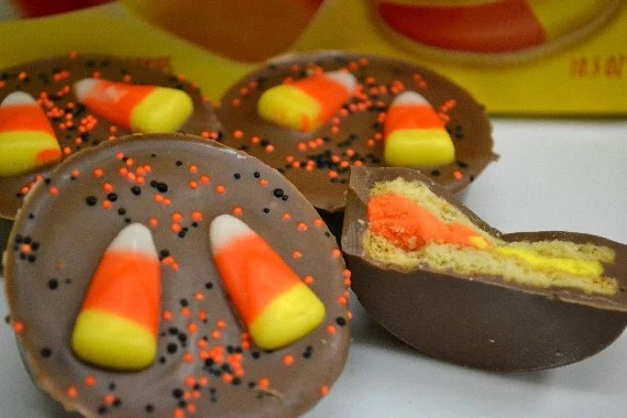 Candy Corn Chocolate Covered Oreos, Halloween candy, favors - SuesSweetShop
