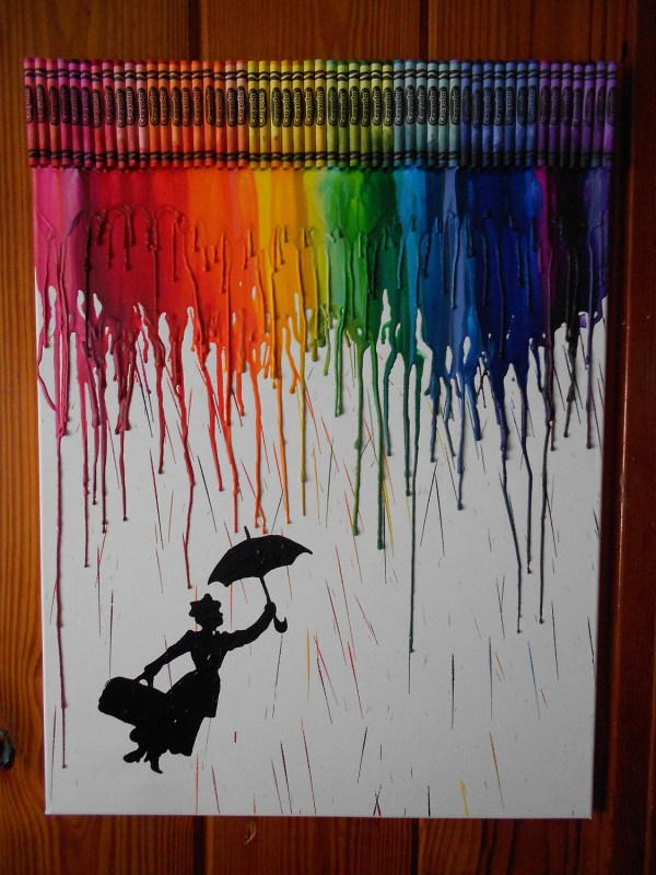 Mary Poppin Inspired Melted Crayon Painting