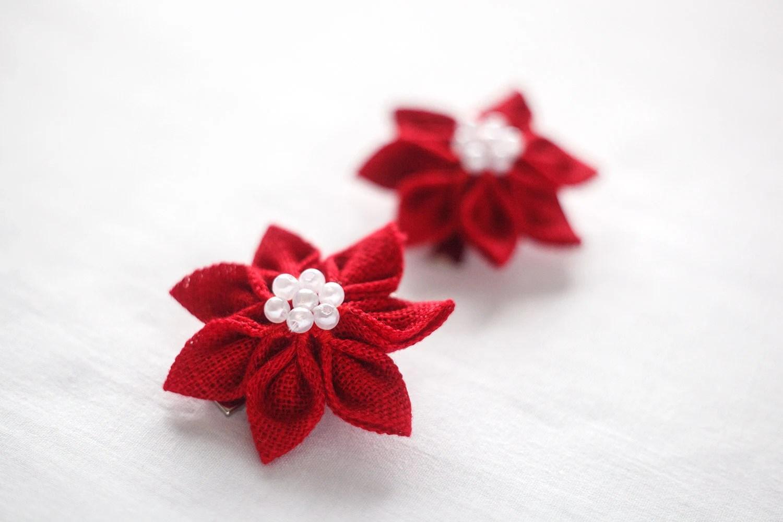 Red Flower girl hair clips - Toddler hair accessories - Girl hair accessories - lefthandedcraftclub