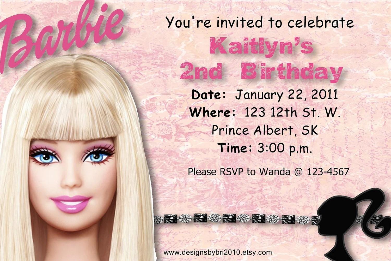 Barbie Birthday Invitation Wording
