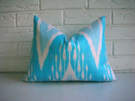 Aqua Ikat Pillow Cover Decorative Throw Accent Lumbar