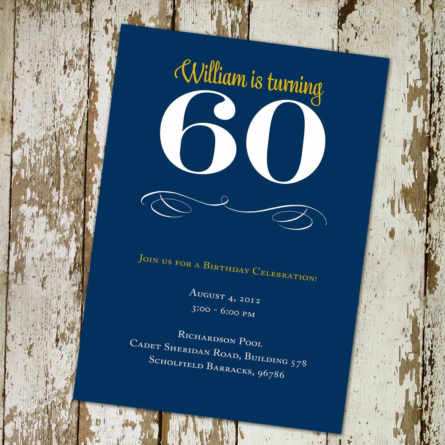 60th Birthday Invitation ANY COLOR Retirement Surprise Party