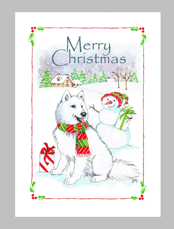 Samoyed Christmas Cards Box Of 16 Cards And Envelopes