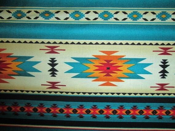 Navajo Teal Gold Border Native American Cotton Flannel FQ