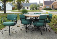 Mid Century Table & Chairs Wrought Iron French Cafe Style