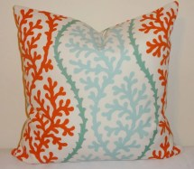 Outdoor Turquoise Cororange Coral Pillow Cushion Covers