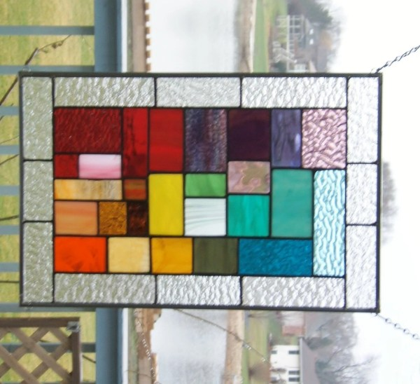 Stained Glass Window Panel Rainbow Geometric Abstract