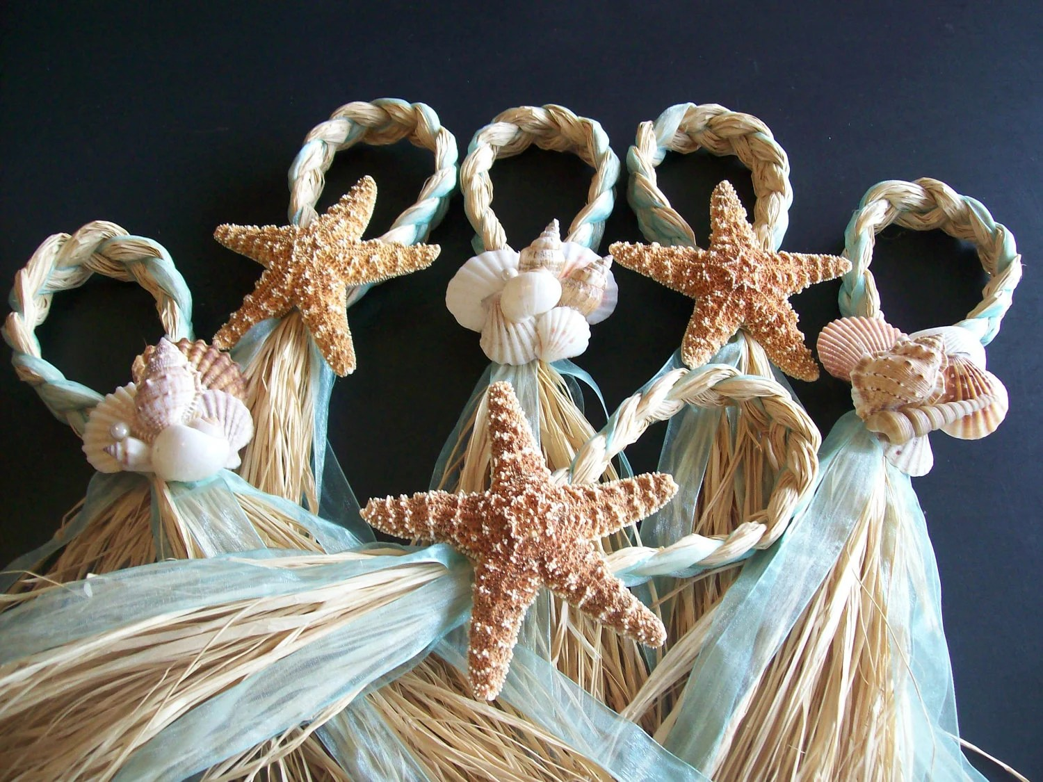 beach wedding chair decoration ideas cheap universal covers for sale starfish and raffia hangers decor by