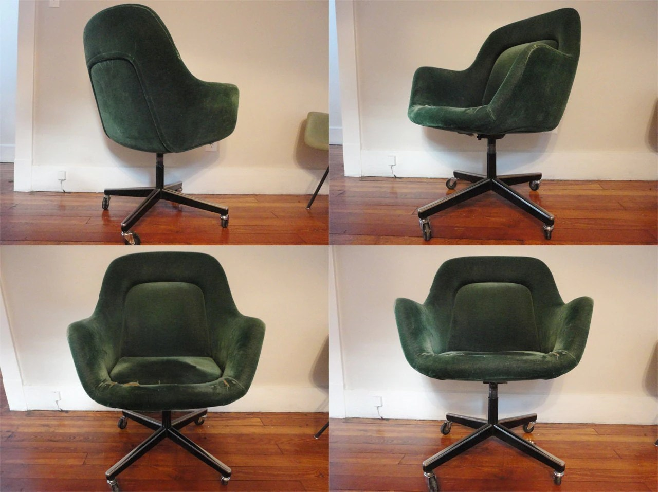 green velvet swivel chair cover rentals in nj rare knoll office saarinen mid century mad men arm
