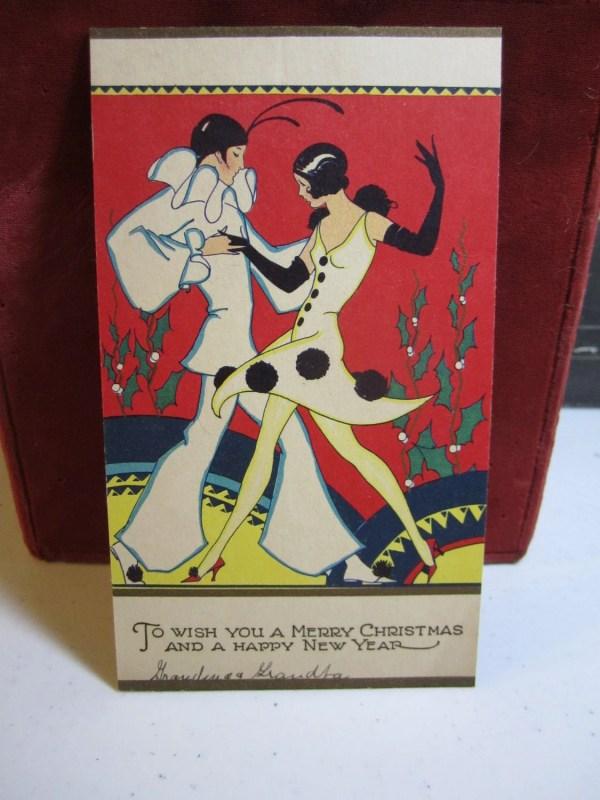 Gorgeous Art Deco 1920'-30' Christmas Card Pierrot