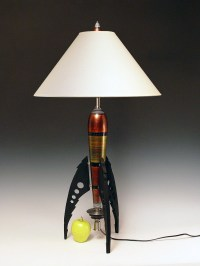 Table Lamp. Atomic retro rocket lamp. Metallic copper. 50s.