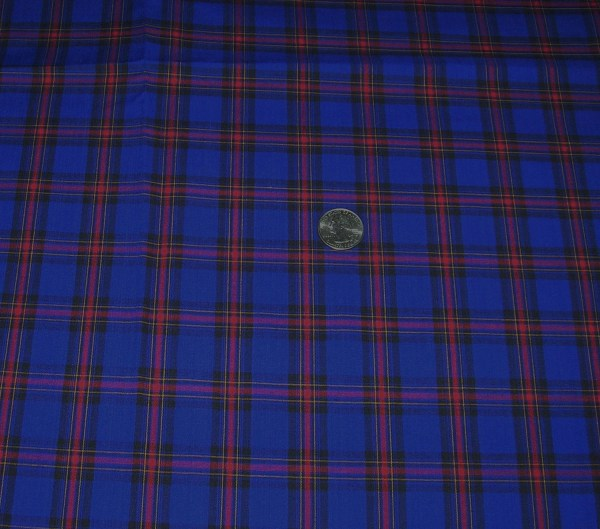 Vintage Cotton Plaid Fabric Blue Red Yellow Gold