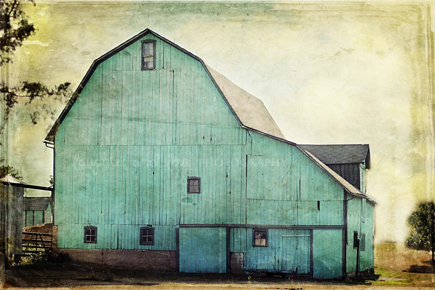 Aqua Barn 8x12 Fine Art Photography Farm Country Shabby Chic Green Blue Rustic Vintage Home Decor Wall Art - laughlovephoto