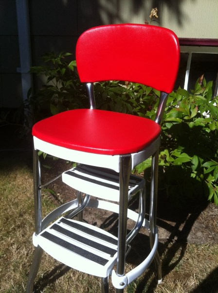 red kitchen stools Red and White Kitchen Stool