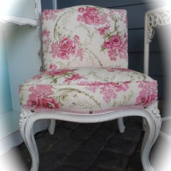 Bonnie Cream Slipper Chair How To Upholster Chairs Shabby Chic Vintage Upholstered In White Pink