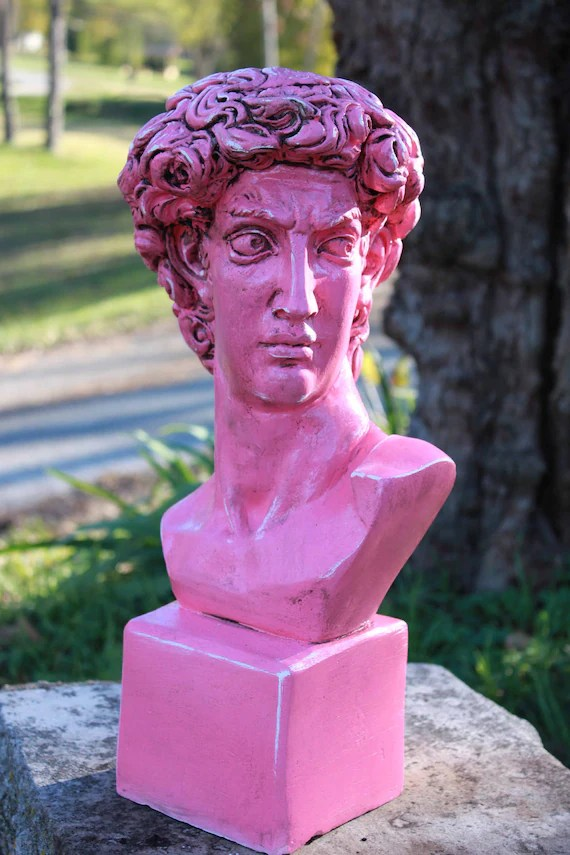red canister set for kitchen countertop options sale fuchsia greek bust david head statue display