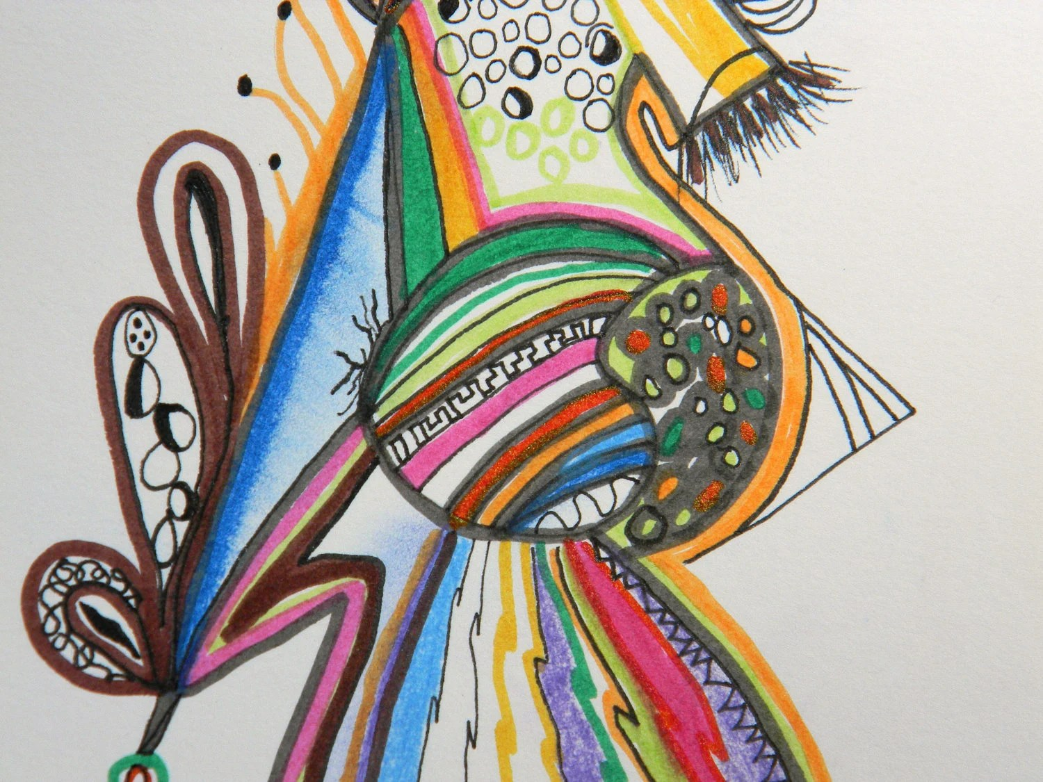 Original Color Pen And Ink Drawing Abstract By