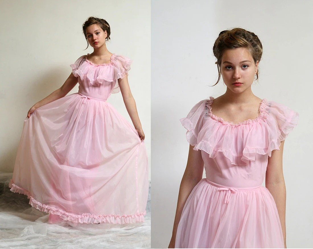 Pink Southern Belle Dress / Pink Wedding / Prom By Vintagecode