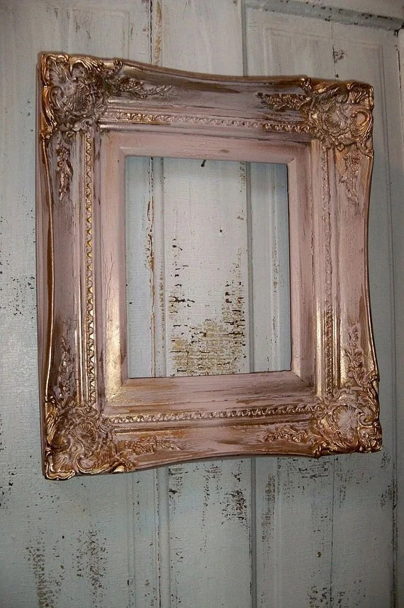 Pink gold wood frame vintage ornate heavy wood 8 by 10 shabby
